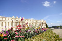 Versailles with flowers 2. Versailles Palace and Gardens, national landmark of France Royalty Free Stock Photos