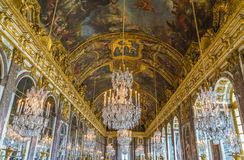 Versailles. France. Famous Mirror's hall of Versailles Chateau. France royalty free stock photos