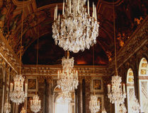 Versailles France. Chandellier hall of mirrors Versailles, France, Europe Royalty Free Stock Photo