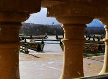 Versailles / France - January 05 2012: View of the building of the Palace of Versailles and the Versailles garden. royalty free stock image