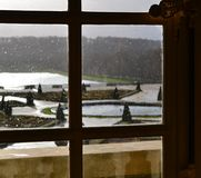 Versailles / France - January 05 2012: View of the building of the Palace of Versailles and the Versailles garden. stock photography