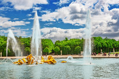 VERSAILLES, FRANCE - 02, JULY 2016 : Fountain of Apollo in a beautful and Famous Gardens of Versailles (Chateau de Versailles). F. Rance royalty free stock images