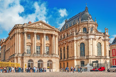 VERSAILLES, FRANCE - JULY 02, 2016 : Head (main) entrance with Royalty Free Stock Photography