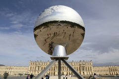 VERSAILLES, FRANCE - JUNE 07: Sky Mirror, Artist's work Anish Kapoor featured at Chateau de Versailles on August 8, 2015 in Versai. Lles, France stock photo