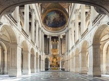 Versailles, France - May 7,2016 : Great Hall Ballroom in Versail. Le Palace. Versaille Palace and surrounding gardens is are on the UNESCO World Heritage List in stock image