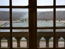 Versailles/Frankrijk - Januari 05 2012: Weergeven van de bouw van het Paleis van Versailles en de tuin van Versailles stock foto's