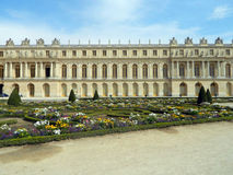 Versailles palace gardens and architecture. Beautiful Versailles palace gardens and architecture from the inside of the courtyard Royalty Free Stock Photo