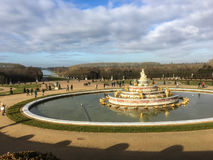 Versailles palace gardens with Latona fountain in foreground Royalty Free Stock Images