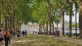Versailles, PARIS, FRANCE- August 2018: Wide boulevard park near the palace-museum. A crowd of multiracial tourists walk stock footage