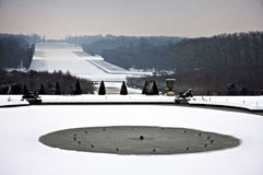 Versailles Snow. Versailles garden in Paris, closed in the early morning on a heavy snow day Stock Photo