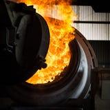 Versamento d'acciaio caldo in acciaieria Fotografia Stock Libera da Diritti