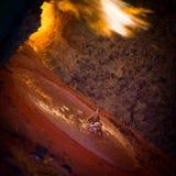 Versamento d'acciaio caldo in acciaieria Fotografia Stock