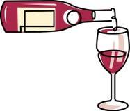Versamento del vetro di vino rosso Fotografia Stock