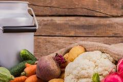 Versammlung der rohen vegetarischen Lebensmittel- und Milchdose stockbild