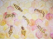Versammlung von Bienen im Hexagonbau vektor abbildung