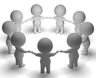 Versammlung von Charakteren 3d zeigt Gemeinschaft oder zusammen lizenzfreie abbildung