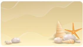 Versanden Sie Hintergrund mit Kieselsteinen, Muscheln und  Stockbild