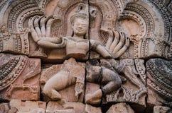 Versanden Sie Steinschloss, die religiösen Gebäude, die durch die alte Khmerkunst konstruiert werden Lizenzfreies Stockbild