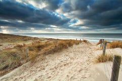 Versanden Sie Weg mit Zaun zum Nordseestrand lizenzfreie stockfotos