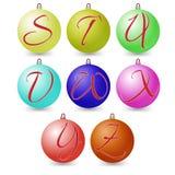 Versatile set of alphabet symbols on Christmas balls. Vector Stock Image