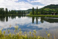 Verschönern Sie mit Fluss am Sommer landschaftlich Stockbild