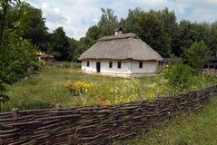Verschönern Sie mit Zweig, Blumen und altem Haus landschaftlich. Stockfotos
