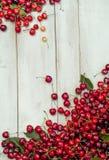Verschütten von hellen roten Kirschen und von Getränken Stockbilder