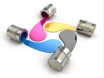 Verschüttete CMYK-Farbe. 3d lizenzfreie abbildung