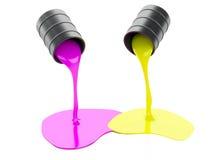 Verschüttete Farben-Dosen auf weißem Hintergrund Lizenzfreie Stockbilder