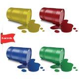 verschüttete Flüssigkeit Metallmehrfarbige Fässer Stahlkannen lizenzfreie abbildung
