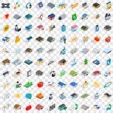 100 verschüttete Ikonen eingestellt, isometrische Art 3d Stockfotos