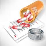 Verschüttete Pillen in der Flasche auf Verordnung vektor abbildung