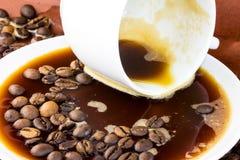 Verschütteter Kaffee Stockfotografie