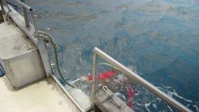 Verschalen eines Bootes nachdem dem Tauchen stock video footage
