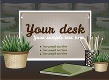 Verschalen Sie für Text mit einem Blumentopf auf einem Ziegelsteinhintergrund Lizenzfreie Stockfotos