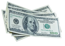 Verscheidene 100 dollarsrekeningen Royalty-vrije Stock Fotografie