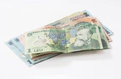 Verscheidene bankbiljetten met een waarde van 100, 10 en 1 Roemeense die Lei op een witte achtergrond wordt geïsoleerd Stock Foto's