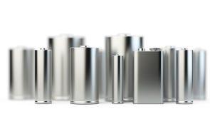 Verscheidene batterijen in perspectiefmening met diepte van gebied Royalty-vrije Stock Fotografie