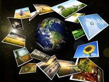Verscheidene beelden die rond de aarde stromen vector illustratie