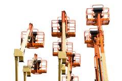 Verscheidene boomliften die op wit worden geïsoleerd= Royalty-vrije Stock Fotografie