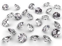 Verscheidene diamanten met zachte schaduwen Royalty-vrije Stock Afbeeldingen