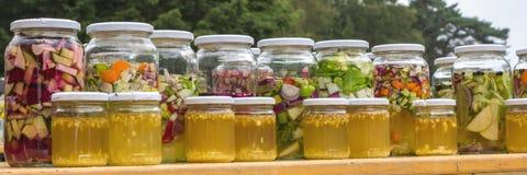 Verscheidene fruit Engelse groenten in flessen royalty-vrije stock foto's