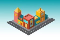 Verscheidene gebouwen in isometry van de weg Royalty-vrije Stock Fotografie