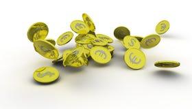 Verscheidene gouden muntstukken Stock Foto
