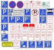 Verscheidene het parkeren tekens Royalty-vrije Stock Afbeelding