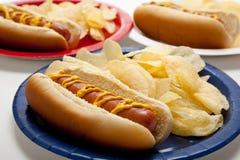 Verscheidene hotdogs op gekleurde platen Royalty-vrije Stock Afbeelding