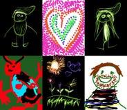 Verscheidene kinderen` s tekeningen Royalty-vrije Stock Afbeelding