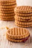 Verscheidene koekjes met rode eigengemaakte marmelade op witte houten raad Stock Afbeeldingen