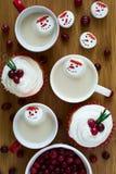 Verscheidene koppen van hete chocolade met heemst in sneeuwmannen vormen Royalty-vrije Stock Fotografie