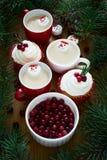Verscheidene koppen van hete chocolade met heemst in sneeuwmannen vormen Royalty-vrije Stock Foto